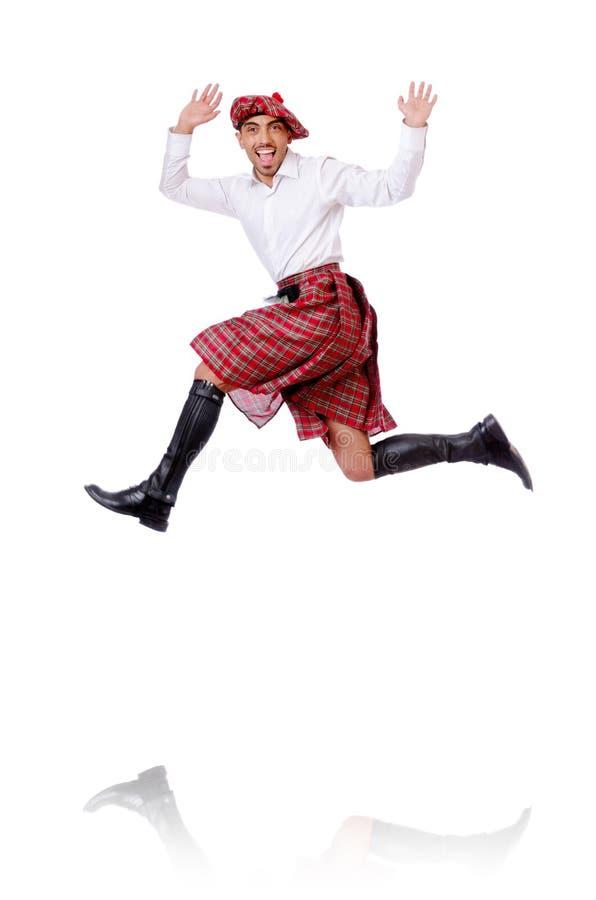 Шотландские танцы человека стоковые изображения rf
