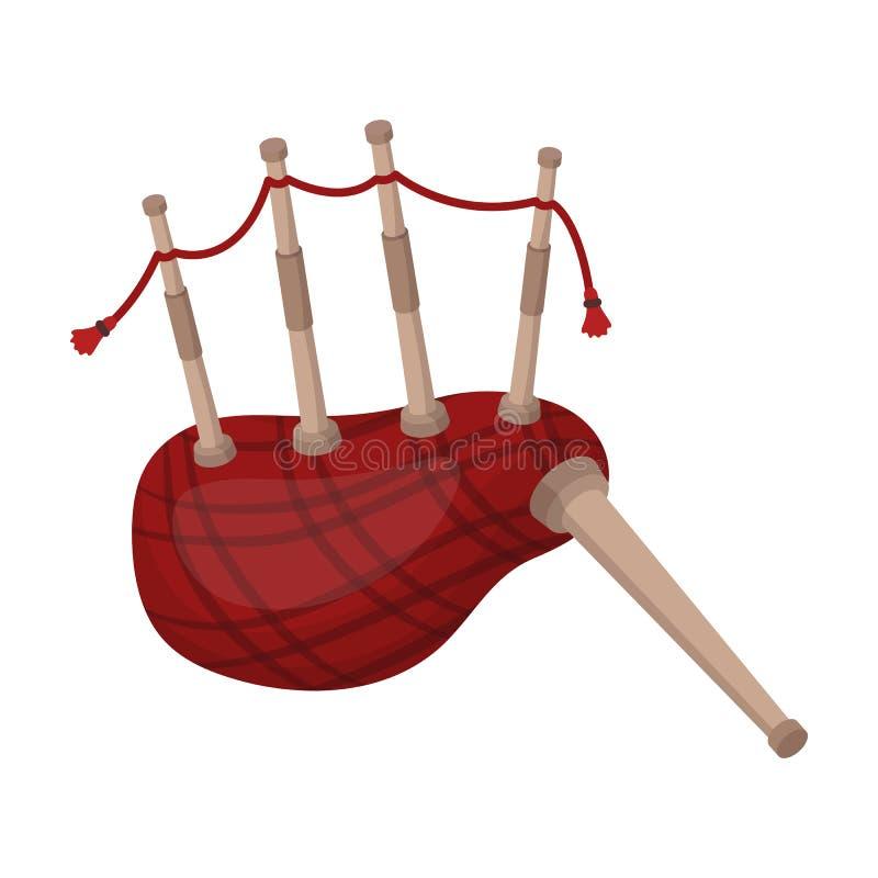 Шотландский значок волынок в стиле шаржа изолированный на белой предпосылке Символ страны Шотландии иллюстрация вектора