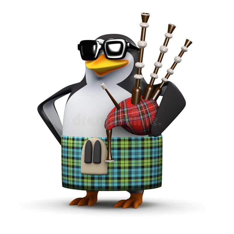 шотландский пингвин 3d играет волынки иллюстрация вектора