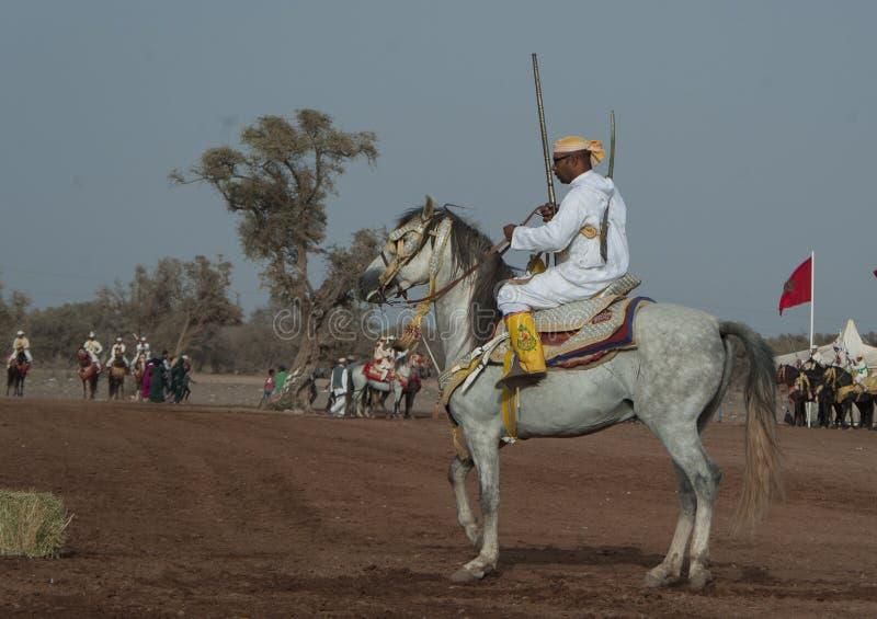 Шоу и предварительные квалификации для традиционной кавалерии вызвали ФАНТАЗИЮ или TBOURIDA в южном Марокко стоковые фото