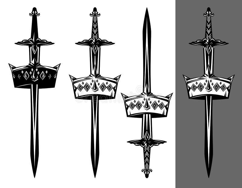 Шпага и королевский набор дизайна вектора кроны иллюстрация штока