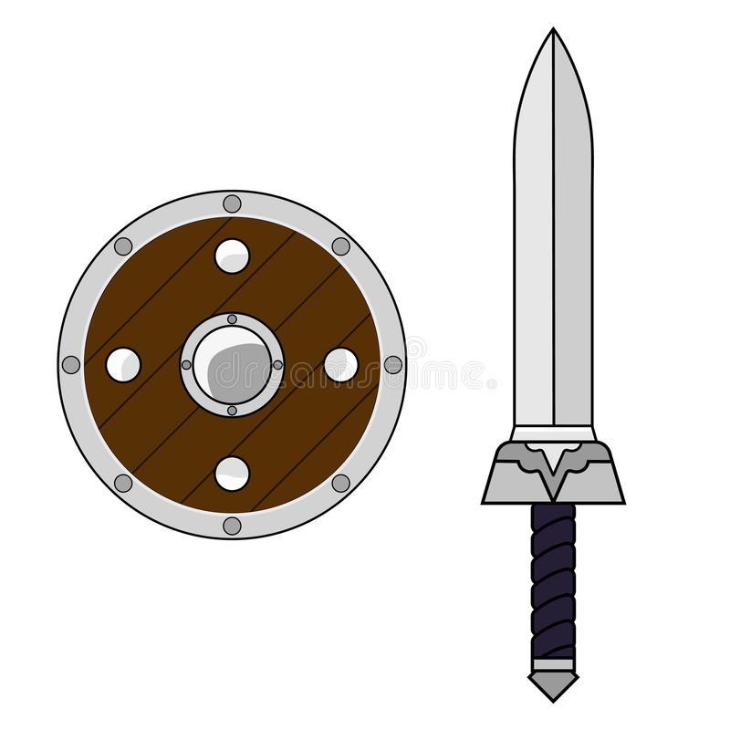 Шпага и экран мультфильма изолированные на белой предпосылке средневековое оружие Детали приключения Иллюстрация для вашего дизай бесплатная иллюстрация