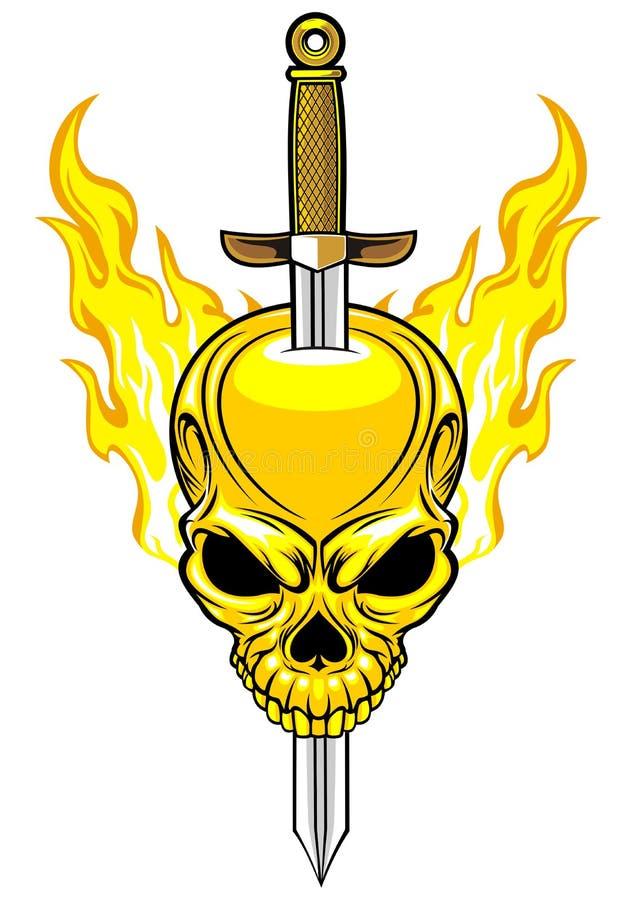 Шпага с пламенеющим черепом иллюстрация вектора