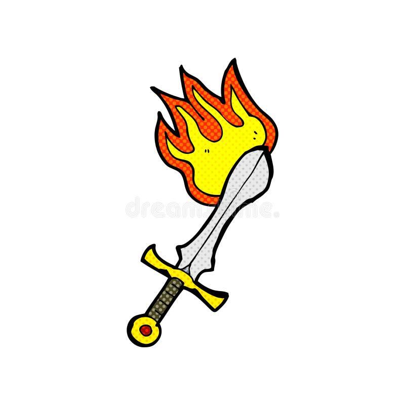 шпага шуточного шаржа пламенеющая иллюстрация штока