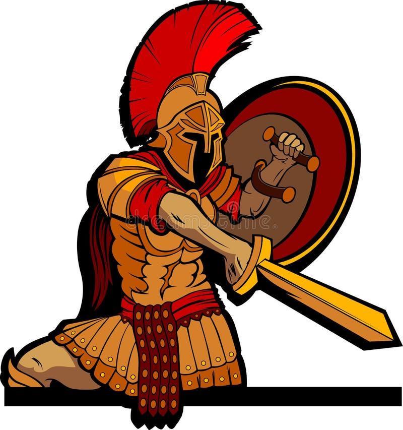 шпага экрана талисмана спартанская иллюстрация штока