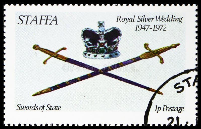 Шпаги государства, королевской серебряной свадьбы, serie Staffa Шотландии, около 1972 стоковое фото rf