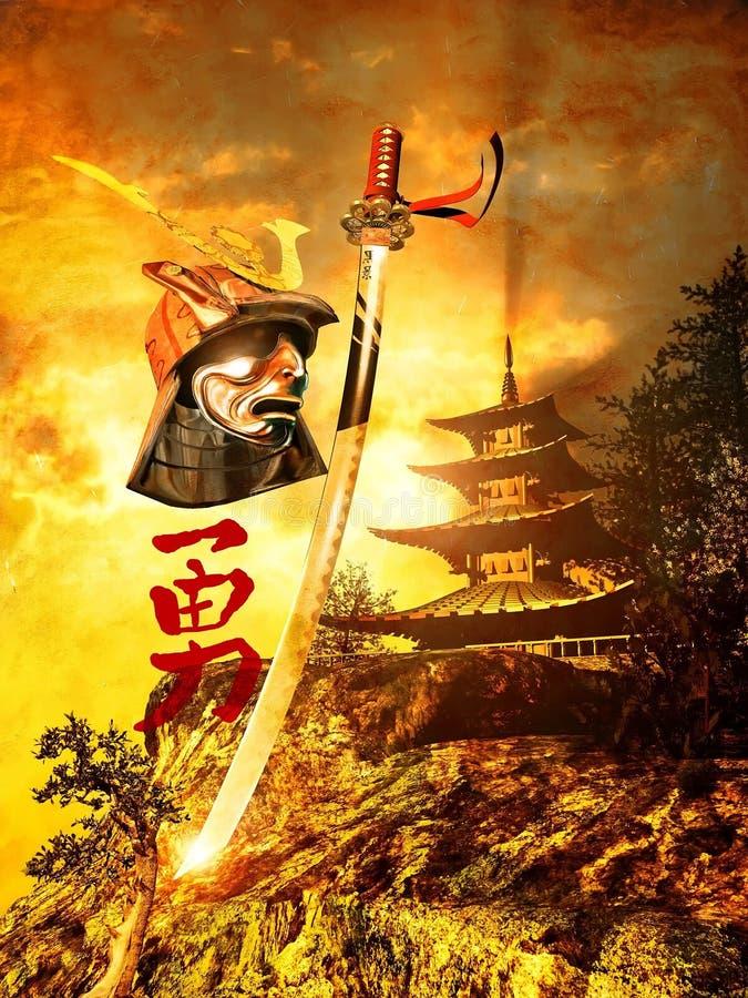 Шпаги и шлем самураев иллюстрация вектора