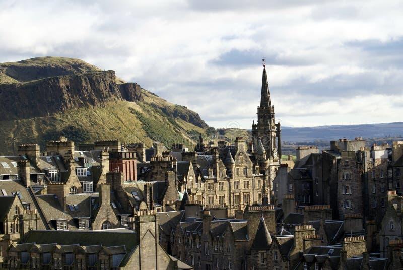 Шпиль кирки Tron в старом городке в Эдинбурге стоковые изображения rf