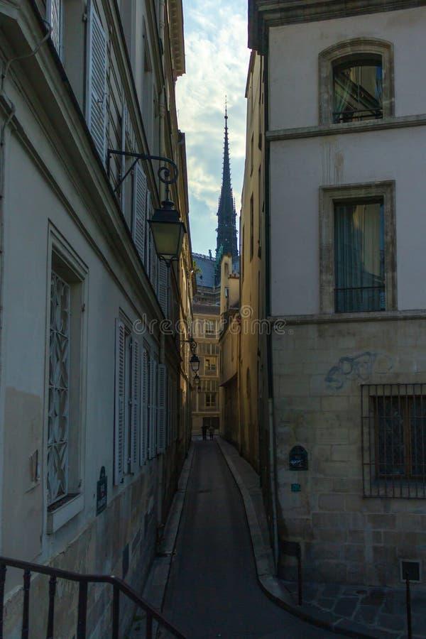 Шпиль собора Нотр-Дам de Парижа стоковое изображение