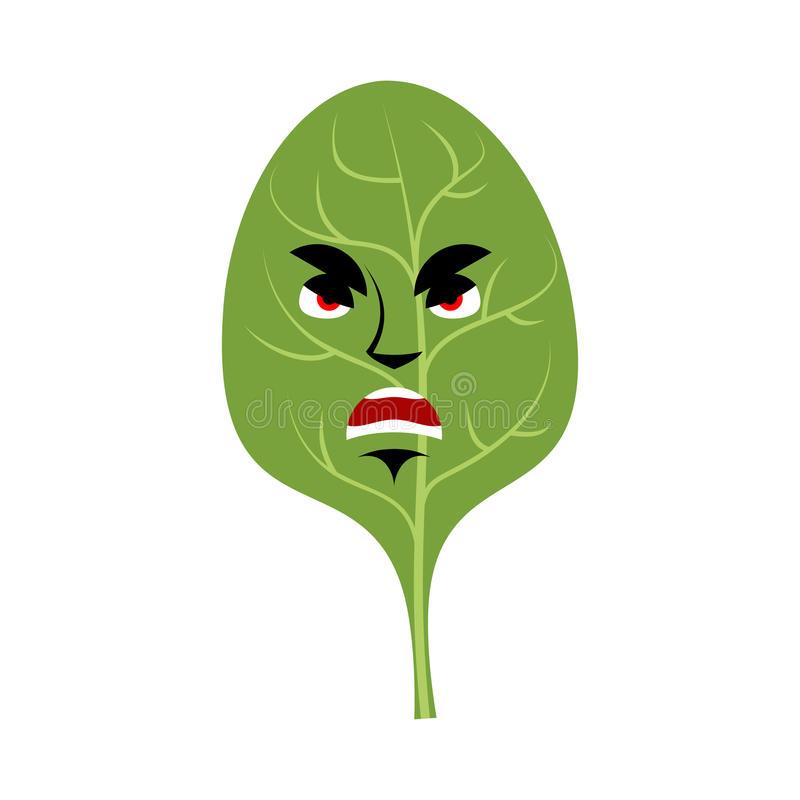 Шпинат сердитое Emoji Зеленый цвет выходит сварливая эмоция изолированный бесплатная иллюстрация