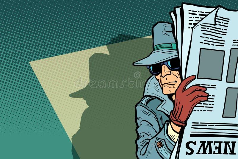Шпионьте сыщик в шляпе и солнечных очках, газете иллюстрация вектора