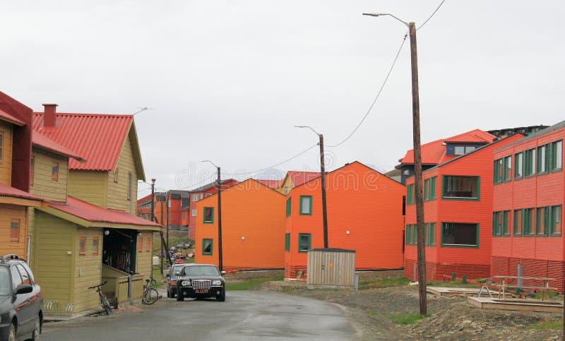 Шпицберген: Сцена улицы в Longyearbyen стоковые изображения