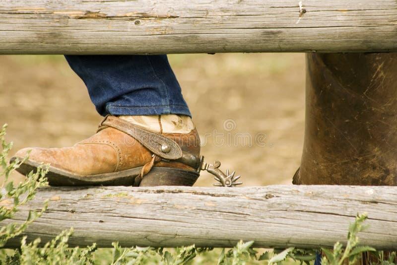 шпора рельса загородки ботинка стоковое фото
