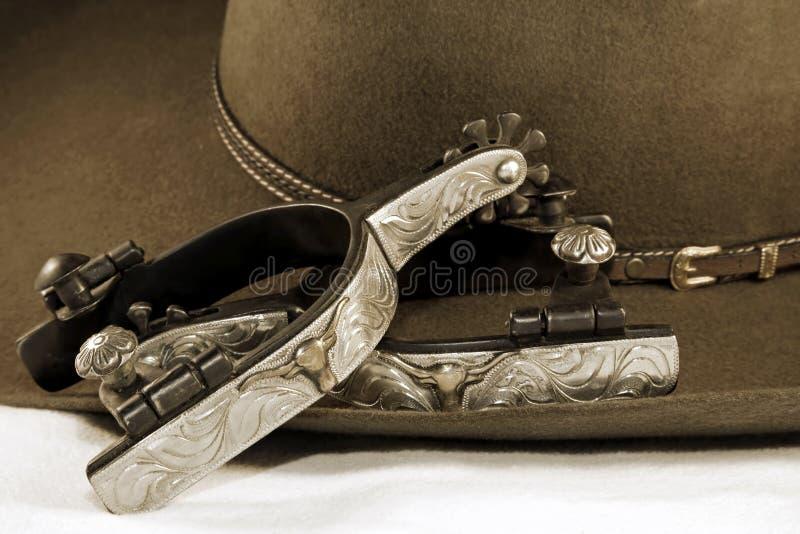 шпоры серебра шлема ковбоя стоковая фотография rf