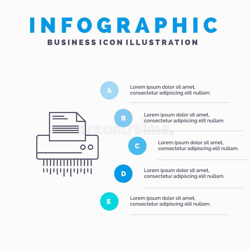 Шредер, конфиденциальный, данные, файл, информация, офис, бумажная линия значок с предпосылкой infographics представления 5 шагов иллюстрация вектора