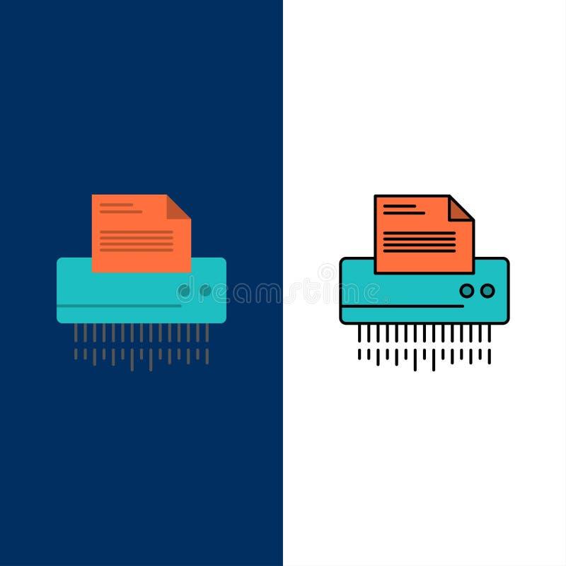 Шредер, конфиденциальный, данные, файл, информация, офис, бумажные значки Квартира и линия заполненный значок установили предпосы иллюстрация вектора