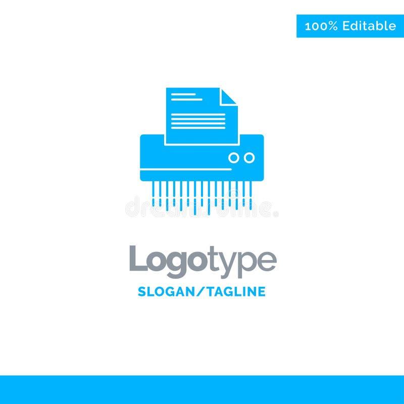 Шредер, конфиденциальный, данные, файл, информация, офис, бумажный голубой твердый шаблон логотипа r иллюстрация вектора