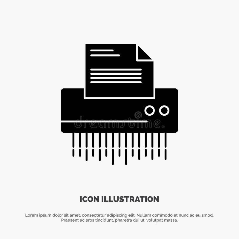 Шредер, конфиденциальный, данные, файл, информация, офис, бумажный твердый вектор значка глифа бесплатная иллюстрация