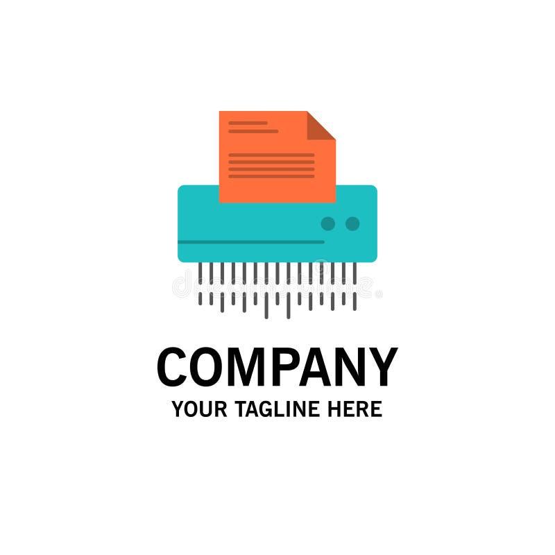 Шредер, конфиденциальный, данные, файл, информация, офис, бумажный шаблон логотипа дела r иллюстрация вектора