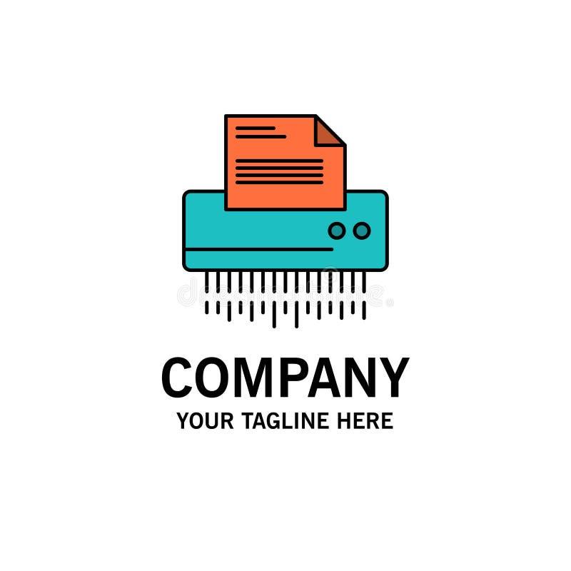 Шредер, конфиденциальный, данные, файл, информация, офис, бумажный шаблон логотипа дела r иллюстрация штока