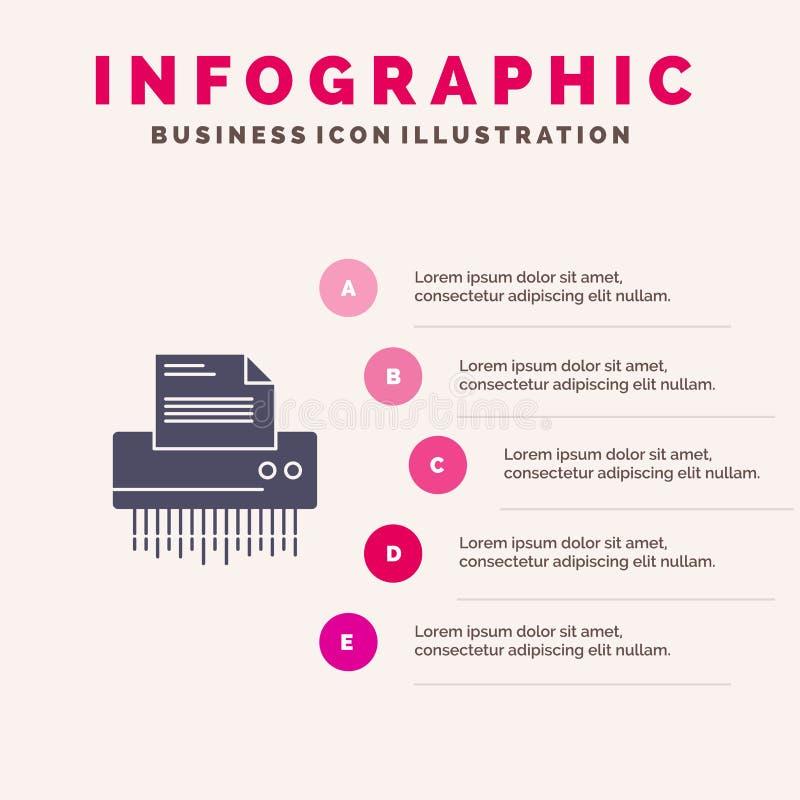 Шредер, конфиденциальный, данные, файл, информация, офис, предпосылка представления шагов Infographics 5 значка бумаги твердая бесплатная иллюстрация