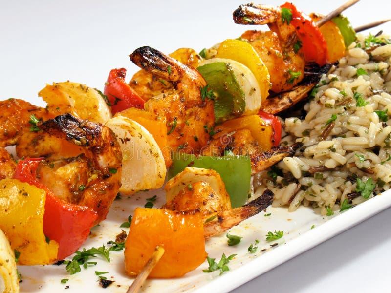 шримс риса kebabs стоковые изображения