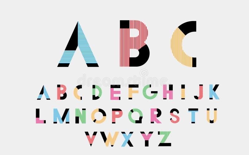 Шрифты цвета алфавитные иллюстрация штока