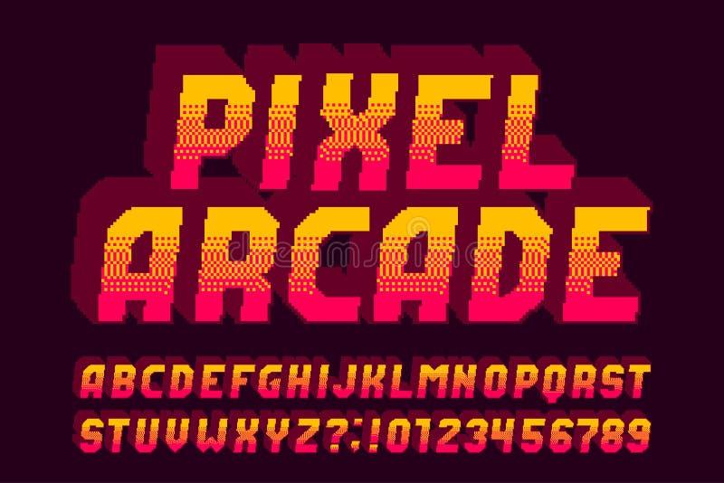 Шрифт алфавита аркады пиксела письма, номера и символы влияния 3d иллюстрация вектора