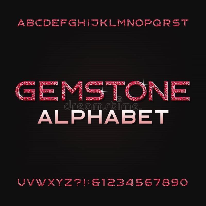 Шрифт алфавита драгоценной камня Сияющие рубиновые письма и номера иллюстрация штока