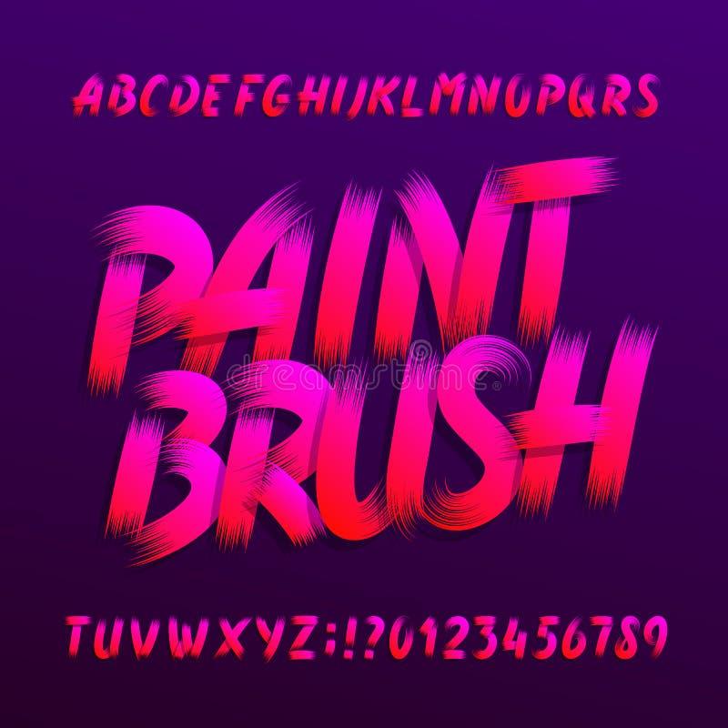 Шрифт алфавита кисти Uppercase письма и номера grunge brushstroke иллюстрация штока