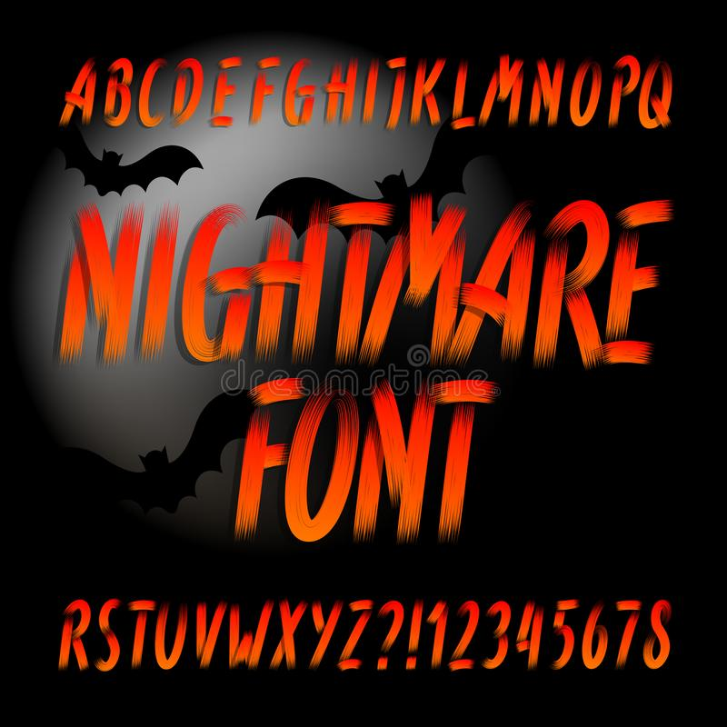 Шрифт алфавита кошмара Письма и номера Brushstroke иллюстрация вектора
