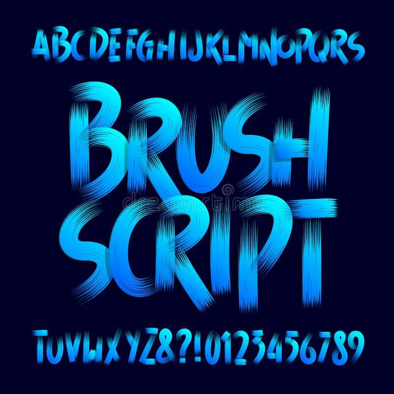 Шрифт алфавита сценария щетки Uppercase рукописные письма и номера brushstroke иллюстрация вектора
