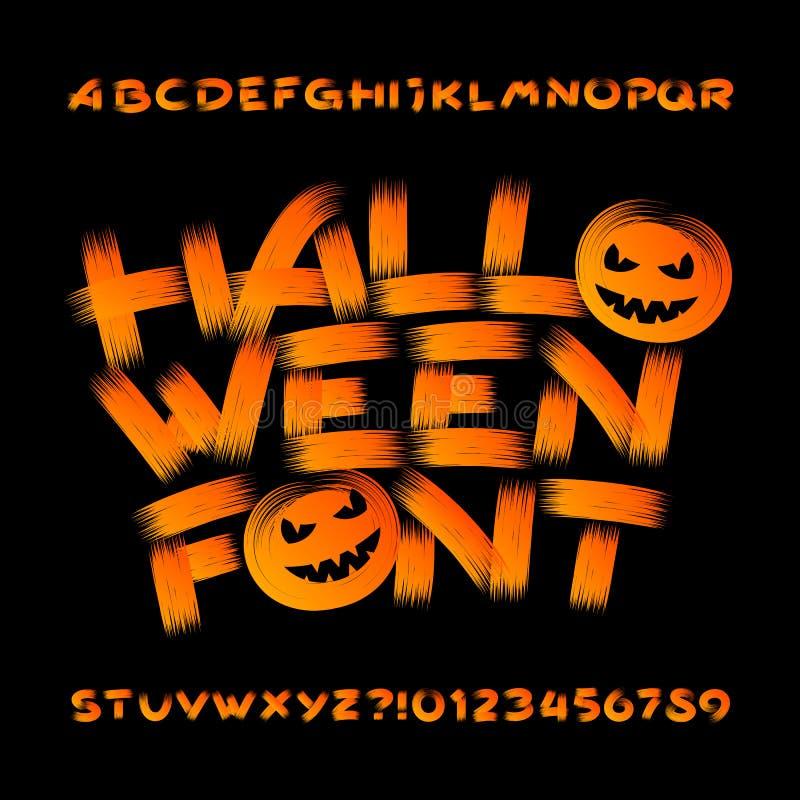 Шрифт алфавита хеллоуина Письма и номера Brushstroke иллюстрация вектора