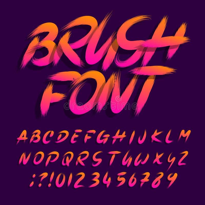 Шрифт алфавита щетки Письма и номера Uppercase brushstroke грязные иллюстрация вектора