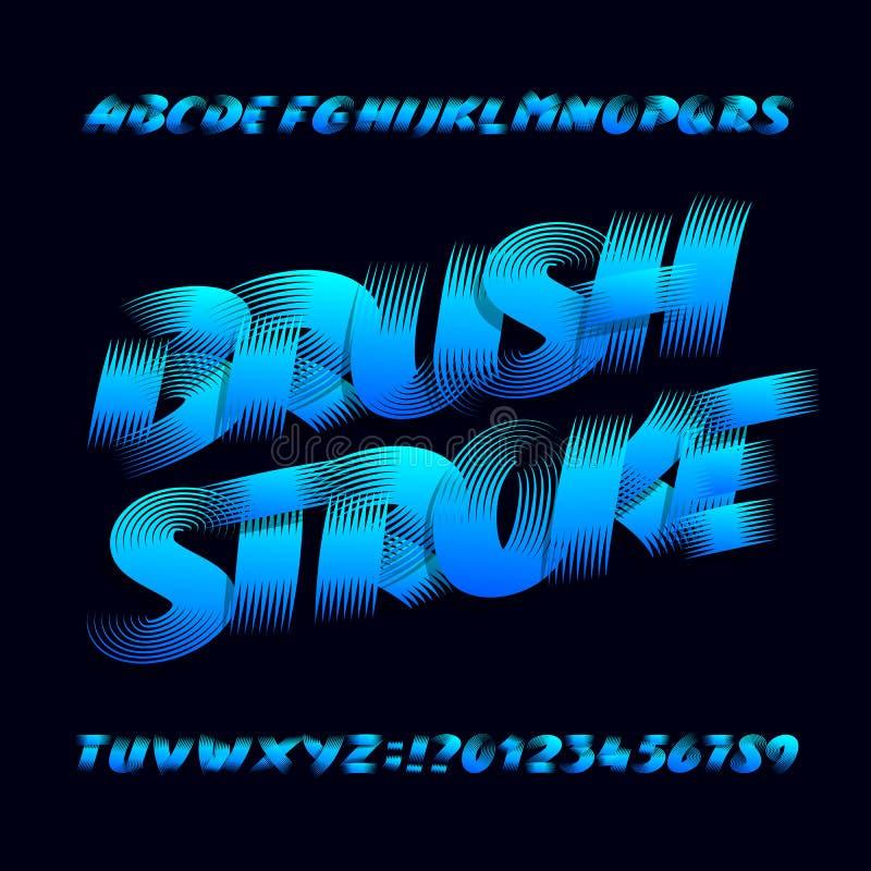 Шрифт алфавита Brushstroke Uppercase смелейшие письма и номера grunge иллюстрация вектора