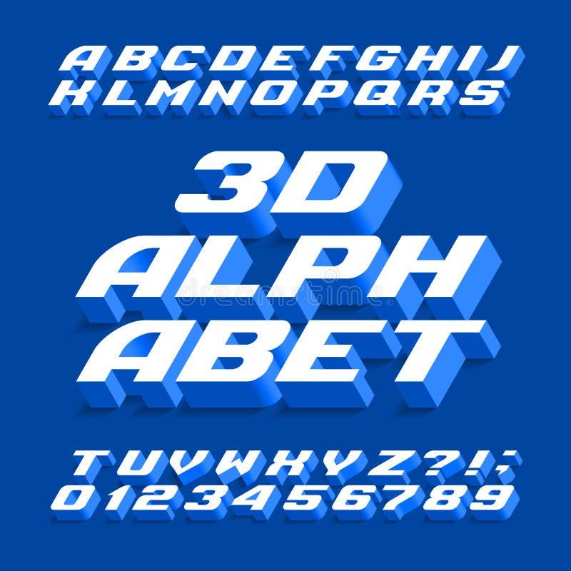 шрифт алфавита 3D Письма, номера и символы пространственного эффекта с тенью иллюстрация штока