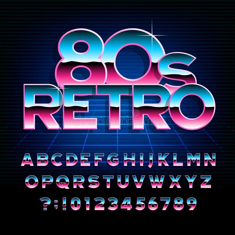 шрифт алфавита 80 ` s ретро Металлический тип письма и номера влияния иллюстрация вектора