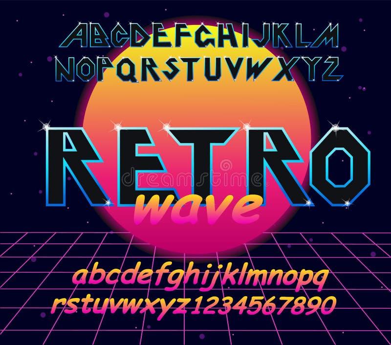 шрифт алфавита 80 s ретро Элементы оформления вектора конструируют бесплатная иллюстрация