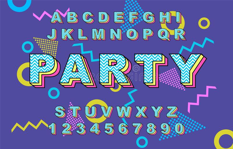 шрифт алфавита 80 s ретро иллюстрация штока