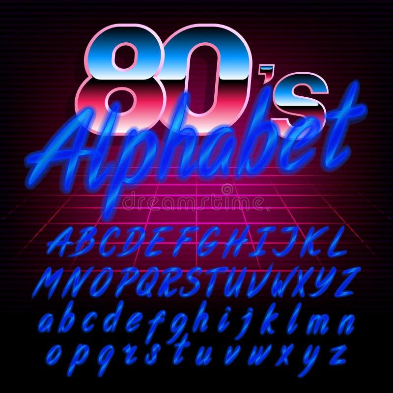 шрифт алфавита 80 ` s ретро Uppercase и строчные буквы влияния зарева сияющие иллюстрация штока
