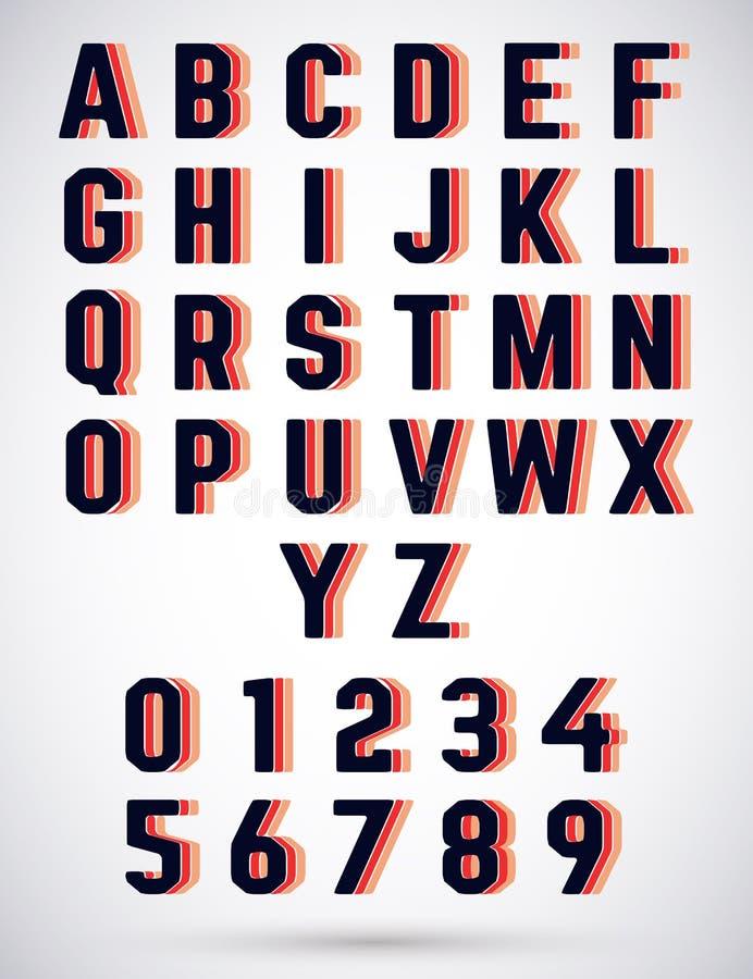 Шрифт алфавита втройне иллюстрация вектора