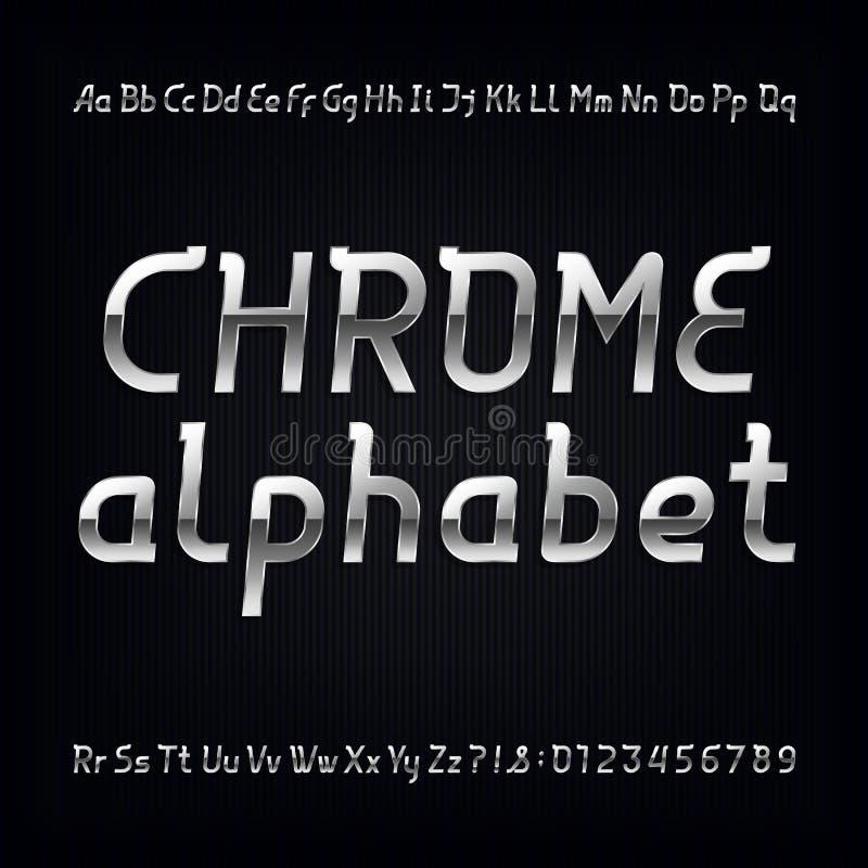 Шрифт алфавита хрома Современные металлические строчные, uppercase письма и номера иллюстрация вектора