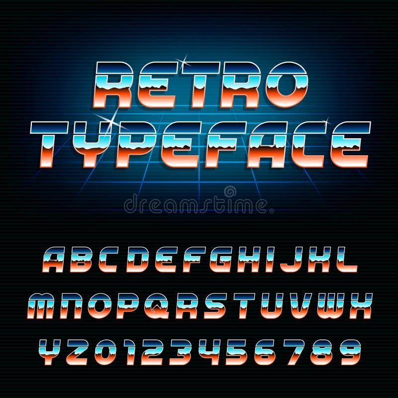 шрифт алфавита 80's ретро иллюстрация штока