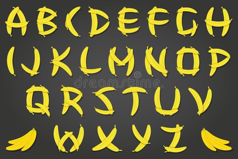 Шрифт банана иллюстрация вектора