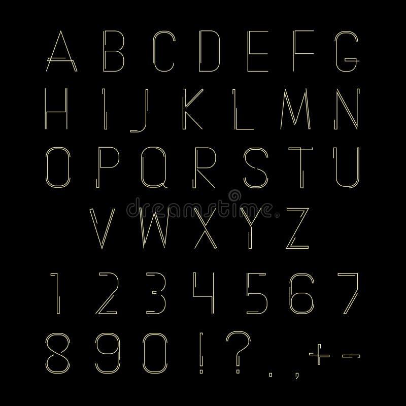 Шрифт битника линейный, алфавит вектора иллюстрация штока