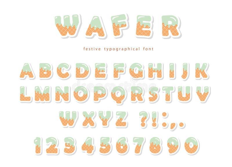Шрифт вафли Милые сладостные письма и номера можно использовать для поздравительой открытки ко дню рождения, детского душа, дня в иллюстрация вектора