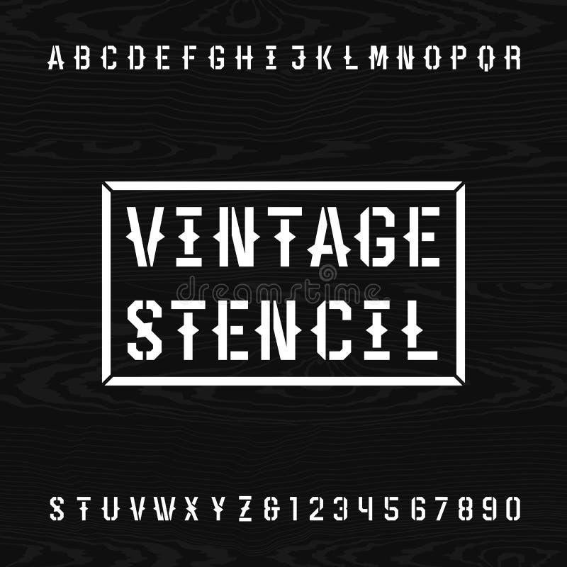 Шрифт вектора алфавита восковки западного стиля ретро иллюстрация вектора