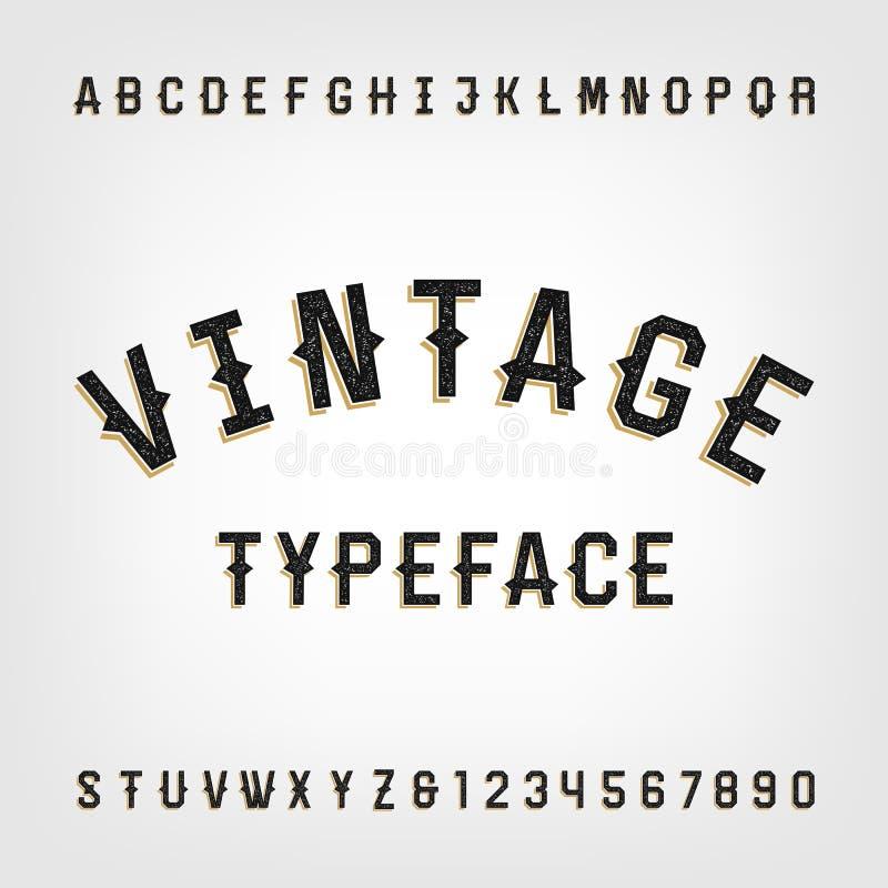Шрифт вектора алфавита западного стиля ретро огорченный бесплатная иллюстрация