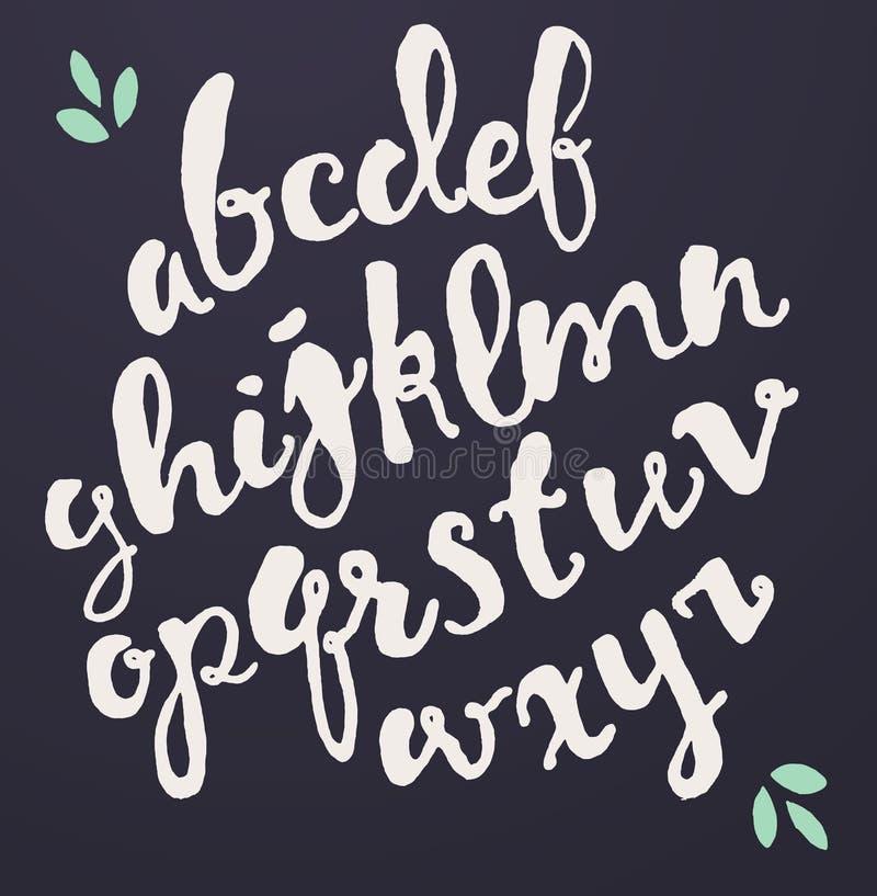 Шрифт вектора нарисованный рукой каллиграфический иллюстрация штока