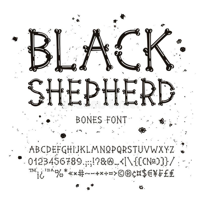 Шрифт вектора от косточек бесплатная иллюстрация